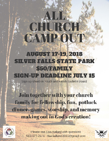 ALL CHURCH CAMPOUT flier